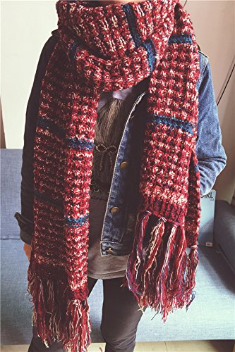 Generic Korean men and women couple new winter fashion Beautiful super thick warm knit wool blending long fringed scarves - Knit Wool Fringed Long Scarf