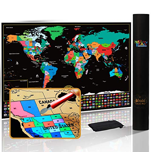 Novelty Place Scratch Off Map of The World with States and Flags - Travel Tracker Map Poster - Complete Scratcher Kit Included - Large Size 24