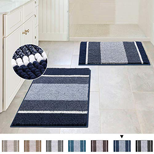 Extra Thick Chenille Striped Pattern Bath Rugs for Bathroom Non Slip – Soft Plush Shaggy Bath Mats for Bathroom Floor…