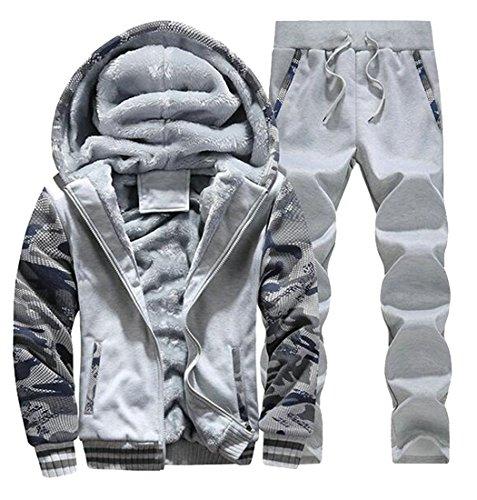Cruiize Mens Winter Fleece-Lined Hoodie and Sweatpants Tracksuit Set