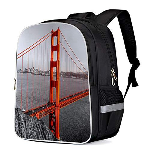 School Bags for Boys, Red San Francisco Bridge Scenery Teens Backpack Lightweight Students Bookbag 13'11'6.3 (Best Weekend Getaways From Sf)