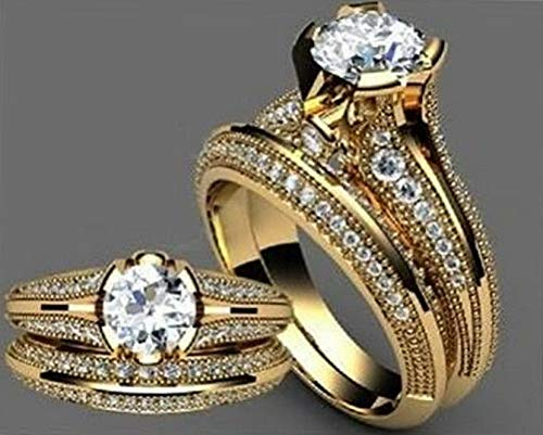 - Endicot White Topaz 18K Yellow Gold Plated Ring Women Men Wedding Gift Jewelry Size 6-10 | Model RNG - 18659 | 9