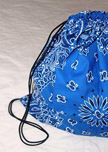 Bandana Drawstring Backpack made with actual Bandanas. Royal Blue.