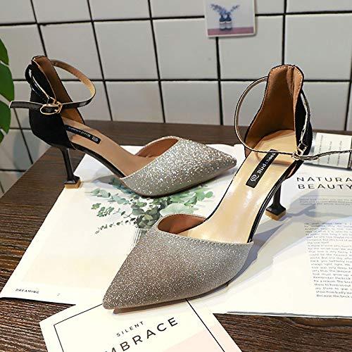 ZHZNVX Zapatos de Mujer PU (Poliuretano) Tacones Tobilleros Correa Tacón de Aguja Punta Estrecha Negro/Beige Black