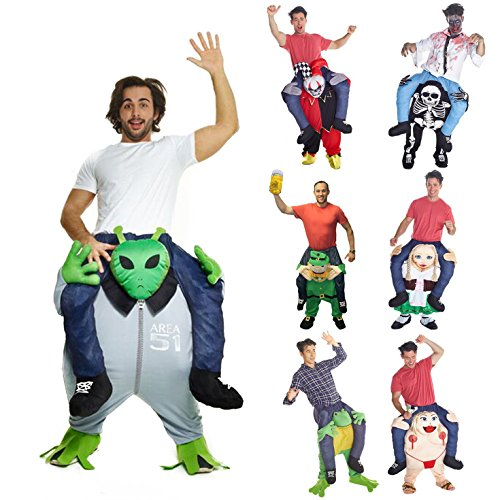 [Morphsuits Men's Alien Piggyback Costume Adult, Green/Grey, One Size] (Carry Me Ride On Costume)