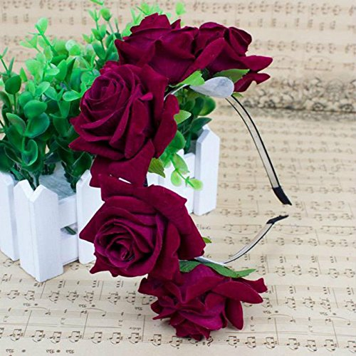 Beauty Wreath Handmade Floral Crown Five Roses Headband Headband Flower Hair Garland Ornaments (Wine Red)