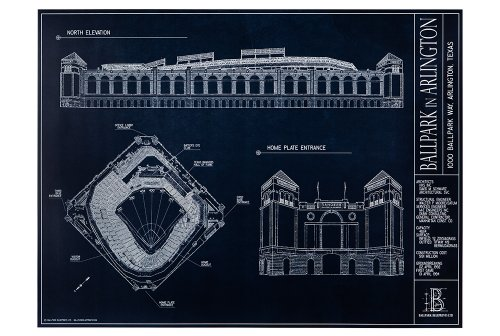Ballpark in Arlington Blueprint Style Print (Unframed, 18 x - The Parks Arlington