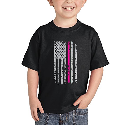 Pink Line American Flag - Breast Cancer Awareness T-shirt (Black, 2T)