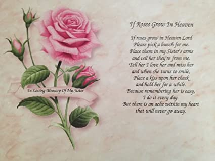 amazon com in memory of sister if roses grow in heaven gift for