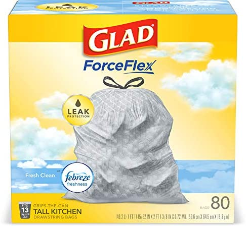 Glad ForceFlex Tall Kitchen Drawstring Trash Bags – 13 Gallon Trash Bag, Fresh Clean odor with Febreze Freshness – 80 Count (Package May Vary)