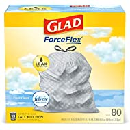 Glad® ForceFlex Tall Kitchen Drawstring Trash Bags – 13 Gallon Trash Bag, Fresh Clean scent with Febreze Freshness – 80 Count - Pack of 3 (Package May Vary)
