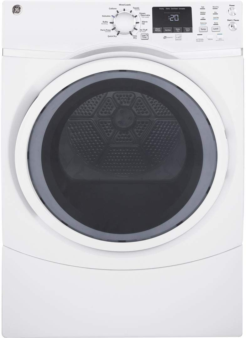 GE White 7.5 Cu. Ft. Front Load Steam Electric Dryer