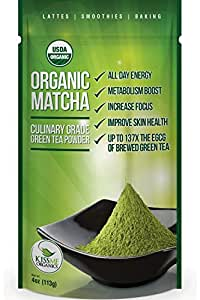 Matcha Green Tea Powder - Powerful Antioxidant - Japanese Organic Culinary Grade Matcha - 4 oz (113 grams) - Increases Energy and Focus - Naturally Supports Weight Loss Goals and Healthy Metabolism