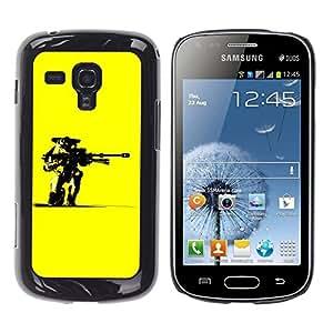 TECHCASE**Cubierta de la caja de protección la piel dura para el ** Samsung Galaxy S Duos S7562 ** Yellow Robot Gun Art Warrior Futurism Ai