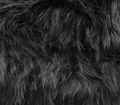 Monkey Fur - Faux Fur Fabric Long Pile Monkey Shaggy Black / 60