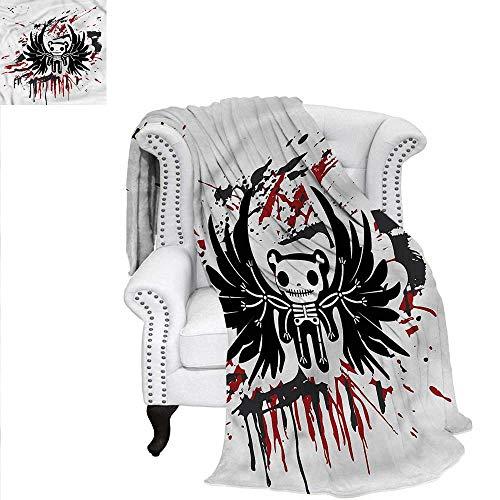 RenteriaDecor Halloween Super Soft Blanket Comic Dead Skull Face Custom Design Cozy Flannel Blanket -
