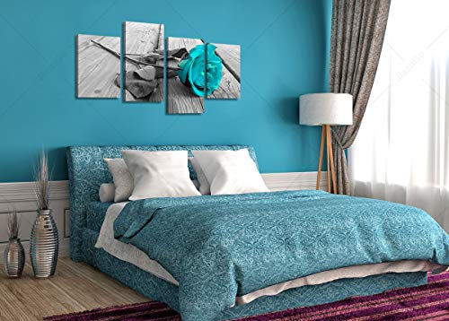 Large Black White Teal Rose Floral Canvas Wall Art Valentine S Day Pictures On Grey Big Modern Flower Prints Multi Panel Turquoise Artwork Paintings Home Decoration Stretched And Framed Ready To Hang