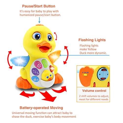 51wJbYRegaL - HOMOFY Yellow Duck Baby Lovely Dancing Singing, Music Lights and Walking, Learning Kids Toys for Girls and Boys Or Toddlers