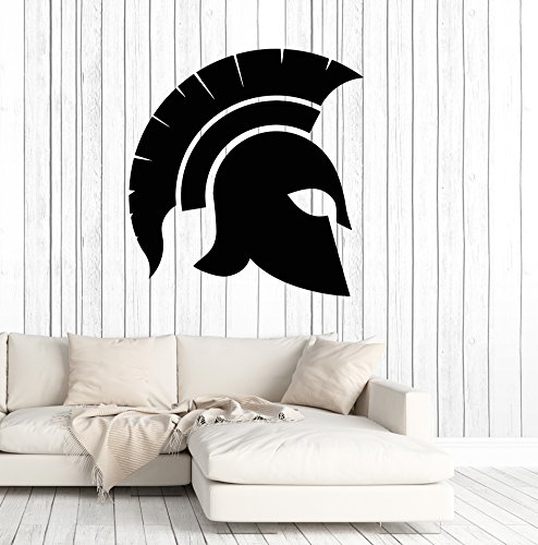 Vinyl Wall Decal Spartan Warrior Helmet Ancient War Stickers Mural Large Decor (ig4951) Black (Wall Helmet Decal)