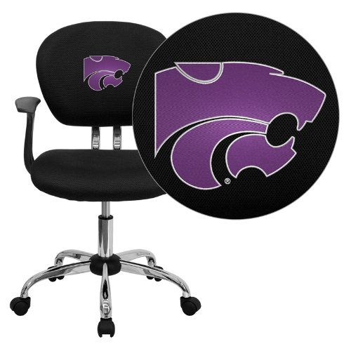 Flash Furniture Kansas State University Wildcats Embroidered Black Mesh Task Chair with Arms and Chrome Base