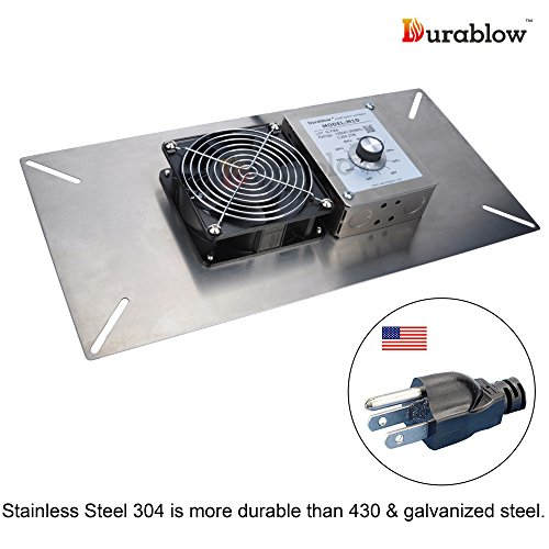 Durablow Stainless Steel Crawl Space Foundation Dual Fans Ventilator + Built-in Dehumidistat Freeze protection thermostat (Stainless Steel 304, M1D) (Ventilator Exhaust)