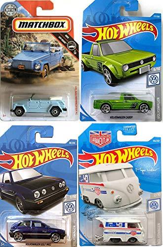 (Hot Wheels Outlaw Magnus Walker Volkswagen Kool Kombi Bundled with Pickup VW Caddy Truck & '74 Type 181 Thing Matchbox Convertible + Blue Golf MK2 4 Items)