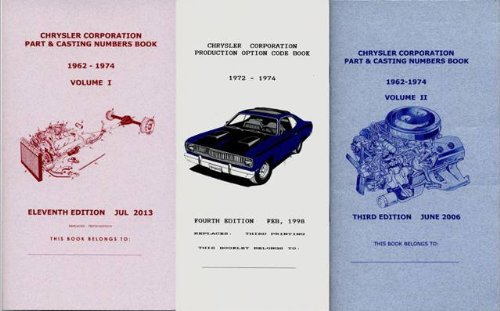 - Pocket Decoding & Casting Number Book Set for 1972-1974 Plymouth - Dodge - Chrysler - Imperial