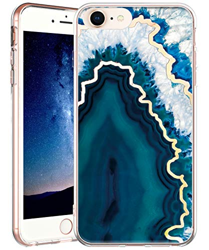 iPhone 8 / iPhone 7 / iPhone 6 / iPhone 6S Case,IN4U Hard Back Marble Design 3D Layered Raised Edge Anti-Shock TPU Bumper Cover for iPhone 8/7/6/6S Case (Blue Crystal Agate)