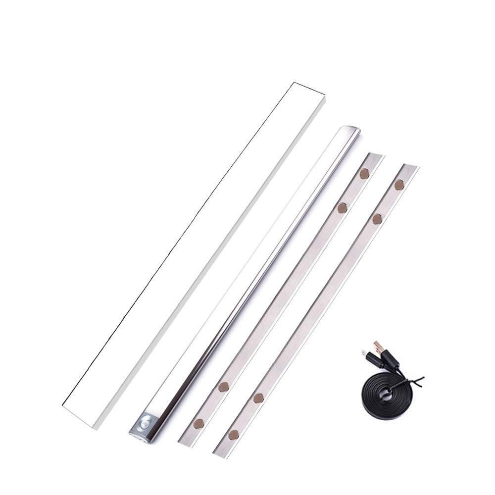 Adiding Under Cabinet Lighting Bar, Wireless Closet LED Light Bar for Kitchen Counter Wardrobe PIR Motion Sensor Activated Ultra Slim Portable Stick on Anywhere Titanium-24 inch