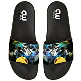 Funny Space Cat Eat Pizza Taco Summer Slide Slippers For Boy Girl Outdoor Beach Sandal Shoes size 3