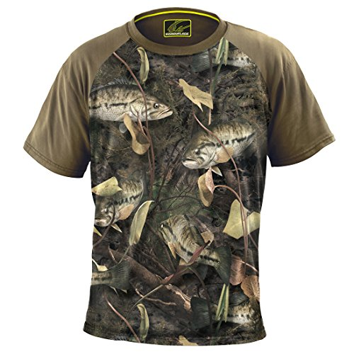 Fishouflage Bass Fishing Shirt – Riptide Short Sleeve Performance Fishing Shirts for Men