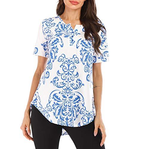 Toimothcn Women's Vintage Short Sleeve Floral Print Buttons Down T-Shirts Blouse Tunic Tops(Blue3,S)