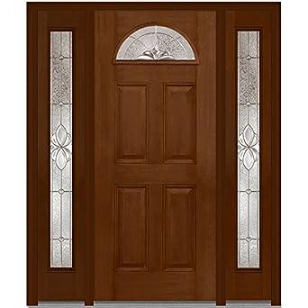 Compañía Nacional de puerta z014733r Fibra de vidrio, Madera de caoba cálido marrón, mano derecha in-swing, exterior prehung puerta, Heirloom Master 1/4 Lite 4-panel, 36