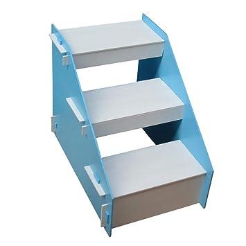 JJZD Taburete de Madera de 3 Pasos para niños, Escalera de Mascotas Escalera para Perros pequeños y Gatos para Camas Altas y sofá (Color : Azul): Amazon.es: ...