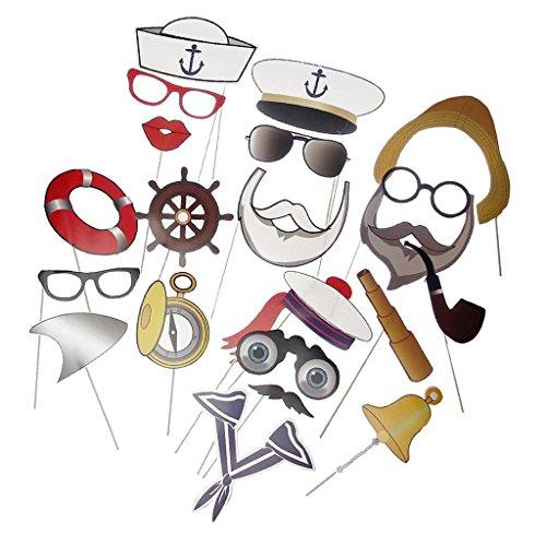 Jili Online 20pcs Sailor Photo Booth Props Kit on Sticks Navy Birthday Maritime Party Decorations
