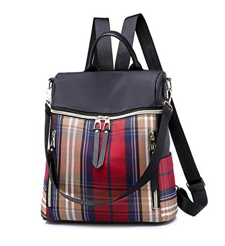 Degohome Women's Nylon Waterproof Backpack Plaid Casual Shoulder School Travel Bag Purse (red)