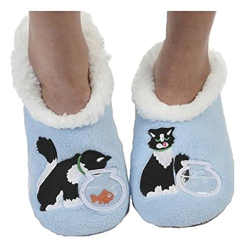 Snoozies Womens Classic Splitz Applique Slipper Socks (Medium, Blue Cat)