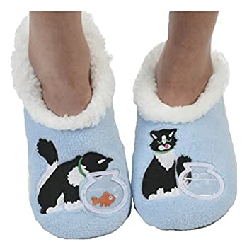 Snoozies Womens Classic Splitz Applique Slipper Socks (Small, Blue Cat)