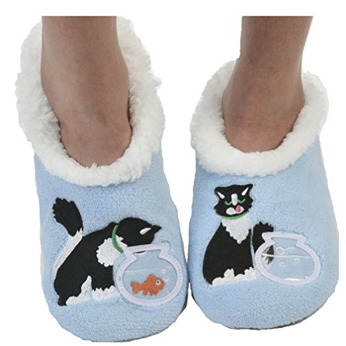 Snoozies Classic Socks Cat Blue large Splitz Applique Womens Slipper qv7nrqwfB