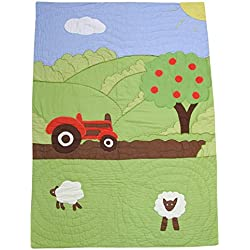 Powell Craft Baby Boys' Farmyard Crib Quilt.102cm X 75cm.green