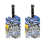 Vantaso Luggage Tags Set PU Leather Owl In A Blue Summer Hat for Travel Suitcase