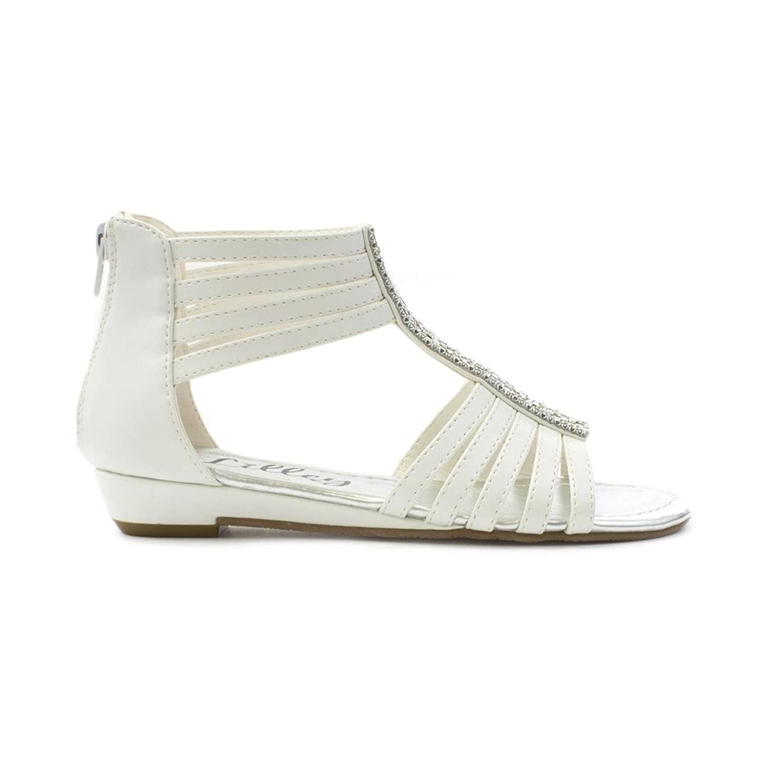 Lilley Girls Diamante Gladiator Sandal in White: Amazon.co.uk: Shoes & Bags