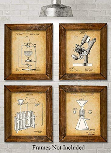 - Original Science Lab Equipment Patent Prints - Set of Four Photos (8x10) Unframed - Great Gift for Scientist or Inventors