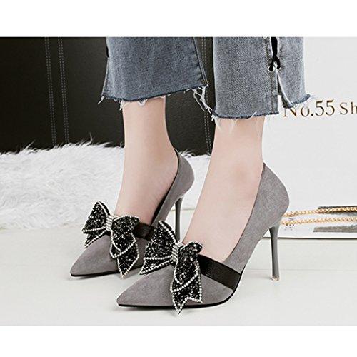 ALUK- Damenschuhe - Europa und die Vereinigten Staaten High Heels Pailletten Diamant Hochzeit Schuhe sexy dünne Schuhe ( Farbe : Grau , größe : 34-Shoes long220mm ) Grau