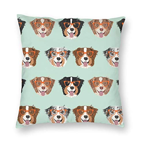 MAYUES Australian Shepherds Glasses Fabric - Cute Dogs and Glasses Design - Mint_2230 Square Throw Pillow Covers Set Cushion Case Colorful for Sofa Bedroom Car 18 X 18 Inch 45 X 45 cm ()