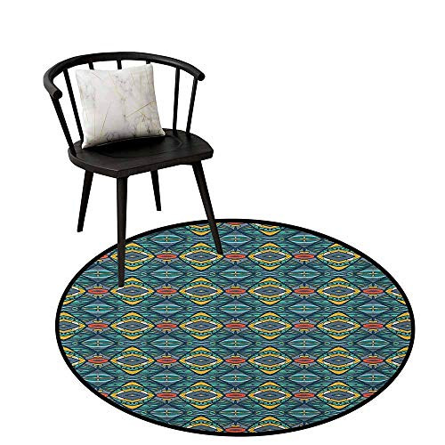 Round Rug Mat Carpet Abstract,Diamond Shapes with Kaleidoscopic Effect and Folkloric Native Tribal Influences, Multicolor,Living Dinning Room and Bedroom Rugs 16