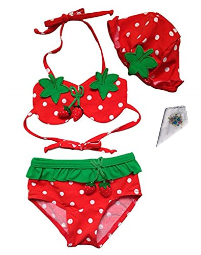 Moon Soul Little Girl Cute Strawberry Swimwear Bikini Swimsuit Hat 3-Piece Suit 2T