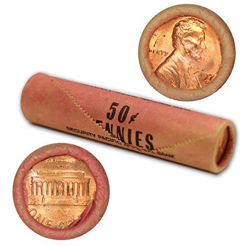 Red Bu Lincoln Cent Roll - 1973 D Lincoln Memorial Penny original BU shotgun wrapper roll Security Pacific Nat'l Bank Brilliant Uncirculated