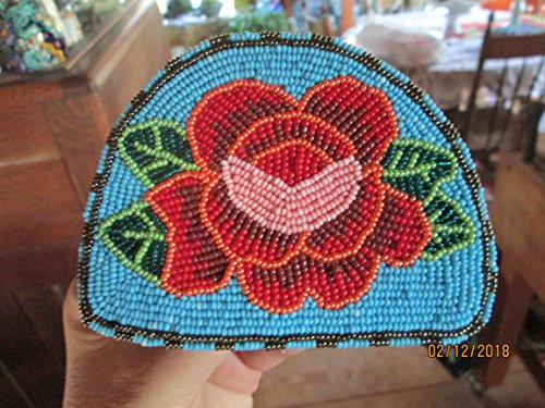 turquoise blue red rose flower green hand beaded Guatemalan floral fair trade Barrette hair clip ornament Fair trade. Hand made glass seed beads regalia Guatemala! Mayan