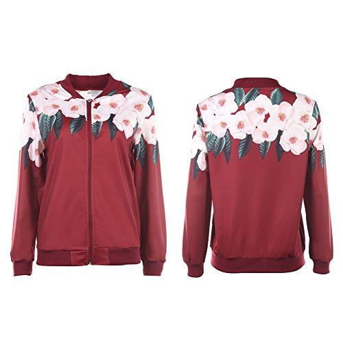 Printemps Pour Tops Manteau Cabina Section Femme Jacket Souple Bomber Vêtements Blouson Rouge Floral Casual De Automne La Mode Zipper Baseball Mince Courte H0Uqw6wx